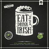 Party Invitation, Chalkboard Irish Beer Emblem poster