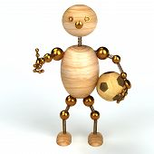 woodman with football 3D Rendered