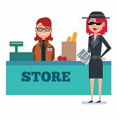 Постер, плакат: Mystery shopper woman in spy coat checks grocery store