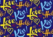Постер, плакат: Love kiss hello text seamless pattern colorful