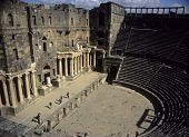foto of pilaster  - roman theatre from top tier seats bosra syria - JPG