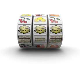 stock photo of slot-machine  - 3d render of fruit machine reels showing jackpot winning line - JPG