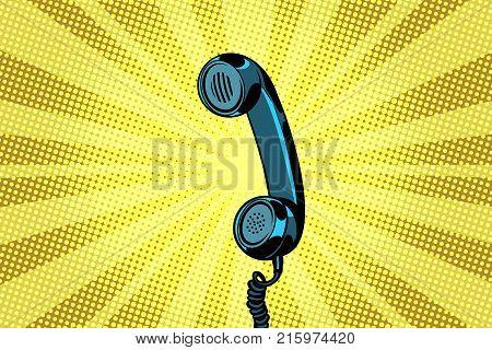 poster of retro handset pop art background. Pop art retro vector illustration