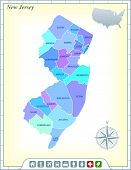 New Jersey State Map with Community Assistance and Activates Icons Original Illustration