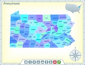 Pennsylvania State Map with Community Assistance and Activates Icons Original Illustration