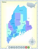 Maine State Map with Community Assistance and Activates Icons Original Illustration
