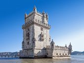 The famous Belem Tower in Lisbon, Portugal. Classified as UNESCO World Heritage it stands as the bes poster