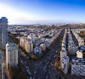 Tel Aviv  skyline  at sunset / Aerial view of  Tel Aviv