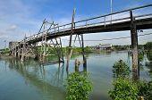wooden bridge in the swamp fishing village