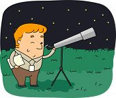Illustration of an Astronomer at Work