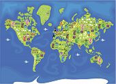 cartoon map of the world
