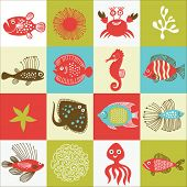set of fishes and marine life