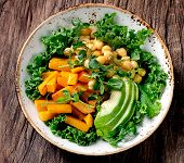 Healthy Vegetarian Nourishment Bowl With Chickpea, Green Pea, Pumpkin, Avocado, Lettuce And Pea Shoo poster