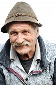 Closeup Artistic Photo of Aged Man With  Grey Mustache poster