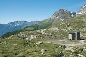 alpine landscape at ospizio bernina, switzerland