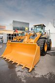 Moscow, Russia - June 02:  Orange Diesel Front End Loader On Display At Moscow International Exhibit