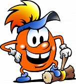 Hand-drawn Vector Illustration Of An Orange Gobling With A Big Hammer