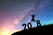 Silhouette Young Man Happy For 2017 New Year Background On  The Milky Way Galaxy Pointing On A Brigh poster