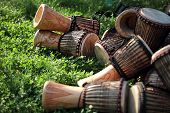 Djembe drums on grass