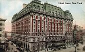 NEW YORK CITY â?? CIRCA 1912: Vintage postcard depicting the Hotel Astor in Times Square, built in 1904 & enlarged in 1909 with a total cost of $10,000,000, New York City, USA, circa 1912.