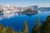 foto of klamath  - Snow in summer on Crater Lake Oregon - JPG