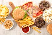 assorted fast food,junk food poster