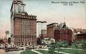 NEW YORK CITY â?? CIRCA 1912: Vintage postcard depicting the Whitehall Buildings & Battery Park, New York City, USA, circa 1912.