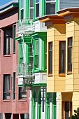 Colorful San Francisco Houses (Vertical Composition)