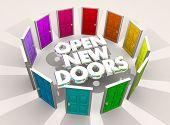 Open New Doors Challenges Opportunities Words 3d Illustration poster