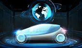 transport and future technology - futuristic concept car with earth globe hologram over black backgr poster