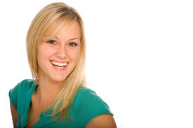 pic of blonde woman  - Happy Young Blond Woman Smiling - JPG