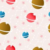 Planets And Celestial Elements In A Seamless Pattern Design. Vector Pattern poster