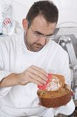 Confectioner Prepares The Panettone For The Cooking