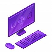 Desktop Computer Icon. Isometric Of Desktop Computer Icon For Web Design Isolated On White Backgroun poster