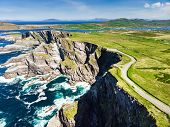 Amazing Wave Lashed Kerry Cliffs, The Most Spectacular Cliffs In County Kerry, Ireland. Tourist Attr poster