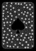 Glossy Mesh Peaks Playing Card With Sparkle Effect. Abstract Illuminated Model Of Peaks Playing Card poster