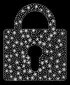 Glossy Mesh Lock With Lightspot Effect. Abstract Illuminated Model Of Lock Icon. Shiny Wire Carcass  poster