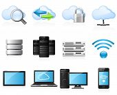 image of tablet pc computer  - Cloud computing and computer network icon set - JPG