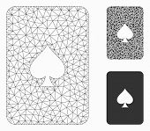 Mesh Peaks Playing Card Model With Triangle Mosaic Icon. Wire Carcass Triangular Mesh Of Peaks Playi poster