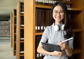 Back To School Education Knowledge College University Concept, Beautiful Female College Student Hold poster