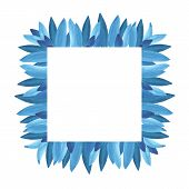 Floral Greenery Card Design: Branch Blue Leaves Foliage Herb Square Greenery Frame. poster
