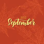September Text. Lettering Typography. Vector Illustration As Poster, Postcard, Greeting Card, Invita poster