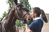 Close Up Hands Of Jockey Woman Hugging A Horse. Young Girl Petting Her Horse In Stable. Equine Thera poster