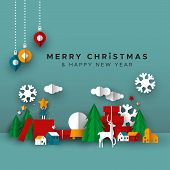 Merry Christmas Happy New Year Greeting Card Illustration Of Papercut Holiday Decoration Landscape.  poster