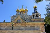 stock photo of church mary magdalene  - golden domes of the Church of Mary Magdalene in Jerusalem - JPG