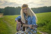 Young Beautiful Hippie Girl With Guitar In Meadow In Summer poster