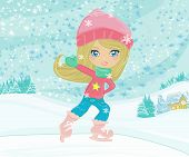 Girl on skates on winter landscapes