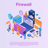 Firewall Data Concept Background. Isometric Illustration Of Firewall Data Concept Background For Web poster