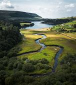 Stunning Peak District National Park Aerial Shot At The Woodhead To Torside Reservoirs Showing The S poster