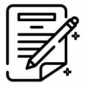 Pen Writing Paper Icon. Outline Pen Writing Paper Vector Icon For Web Design Isolated On White Backg poster